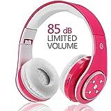Kinder Kabellos Bluetooth Kopfhörer Volumenbegrenzung Safe Faltbarer Kopfhörer Mit Mikrofon Aux in SD Karten FM Für Smartphone PC Tablette (Rosa)-Votones
