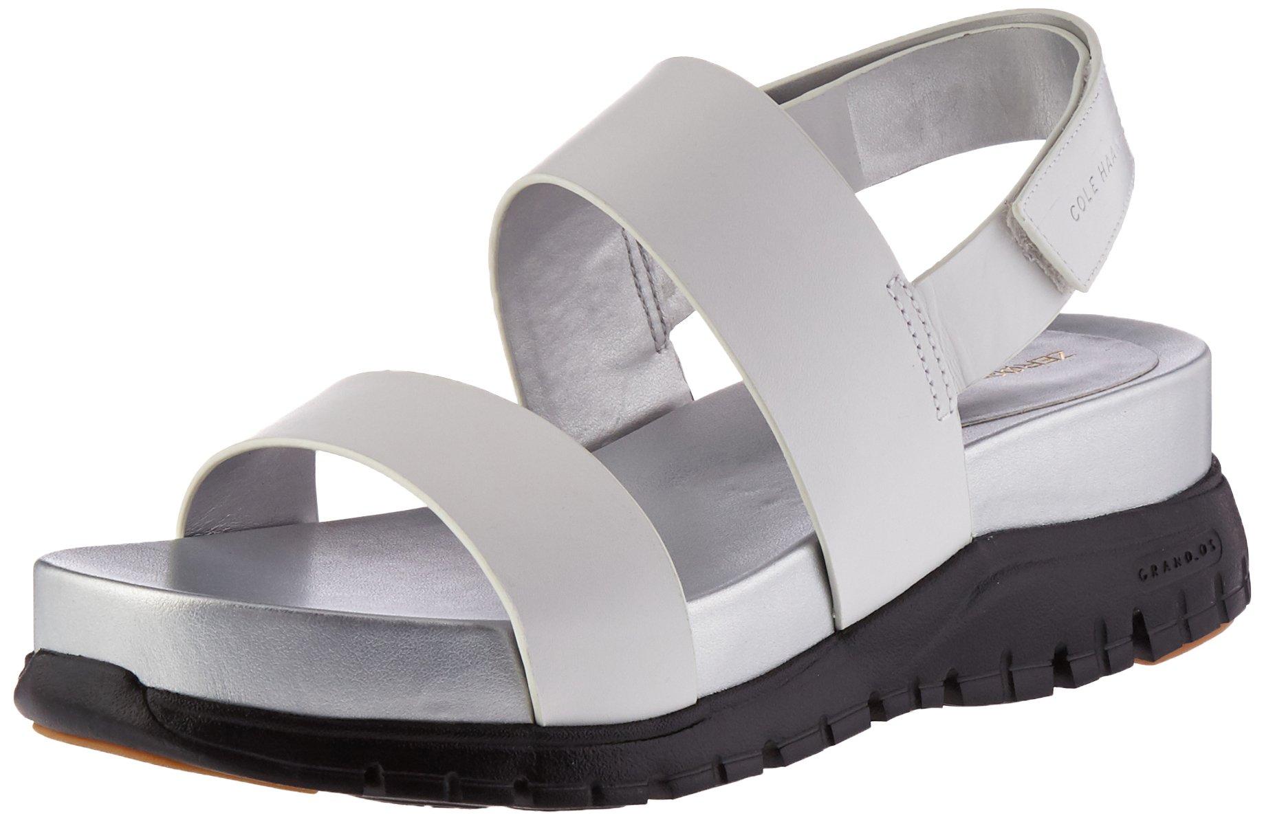 Cole Haan Women's Zerogrand Slide Platform Sandal, Optic White Leather/CH Argento/Black, 10 B US