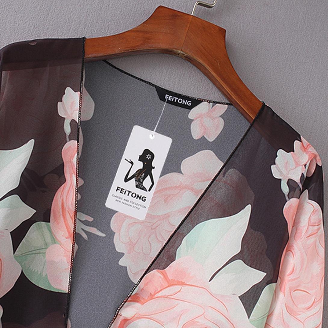 YKA Women 2018 Shawl New Hollow Cardigan Thin Jacket Wild Rose Printed Jacket at Amazon Womens Clothing store: