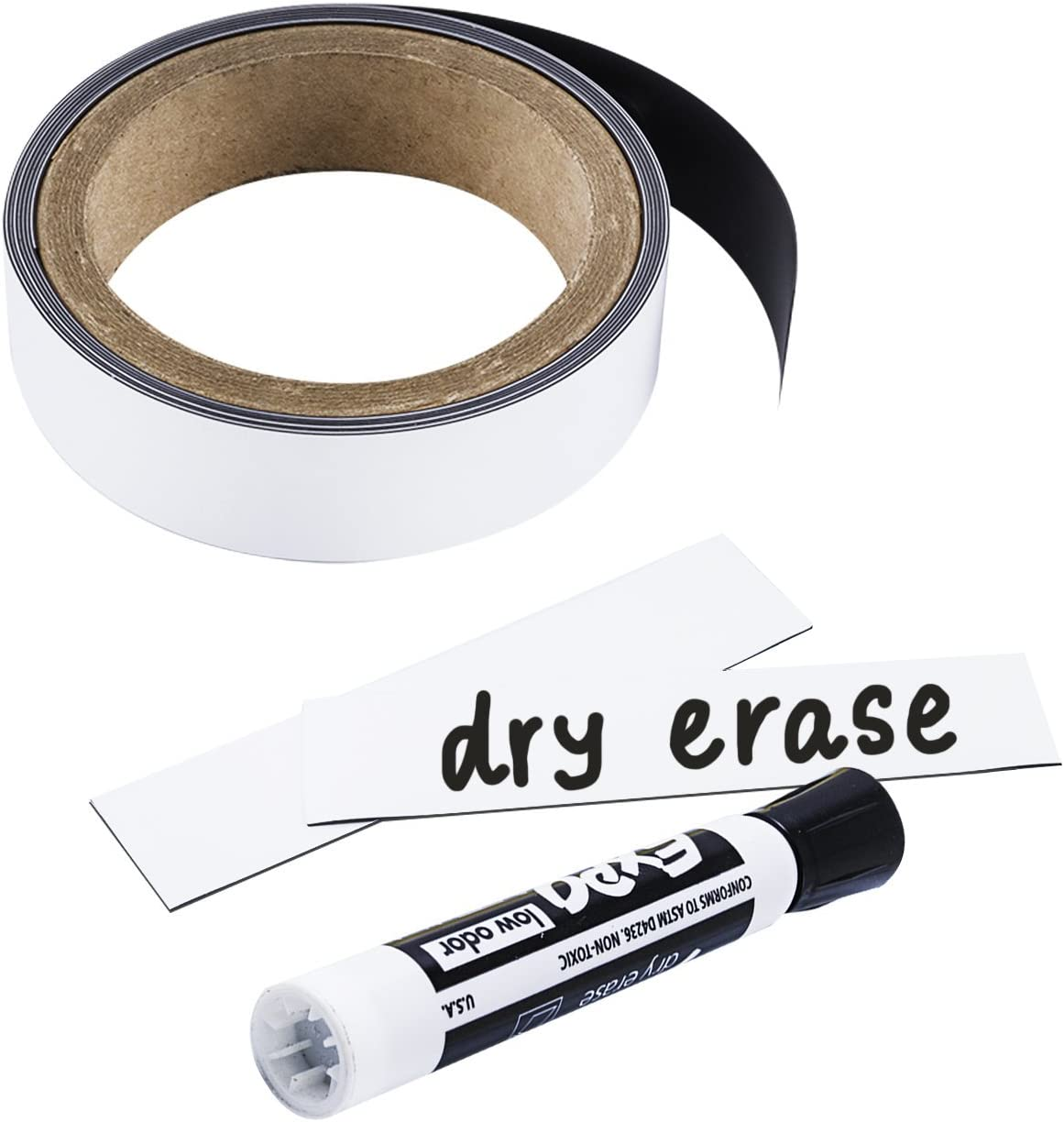 Houseables Write On Magnets Roll, Dry Erase Magnetic Strip, Glossy White, 1 Inch Wide x 25' Long, Wipe Off Labels, Magnetically Receptive Whiteboard Sheet, Board Magnet, for Home, Office