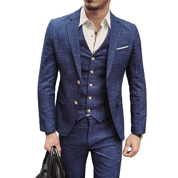 c4c1f3732 UNYU Mens 3 Piece Classic Tweed Herringbone Check Tan Slim Fit Vintage Suit  (S)
