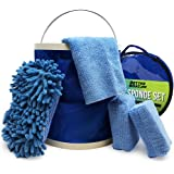 Boat Cleaner Microfiber Sponge Bucket and Microfiber Wash Cloths   Interior Exterior Seats and Fiberglass Hull Cleaning Kit W