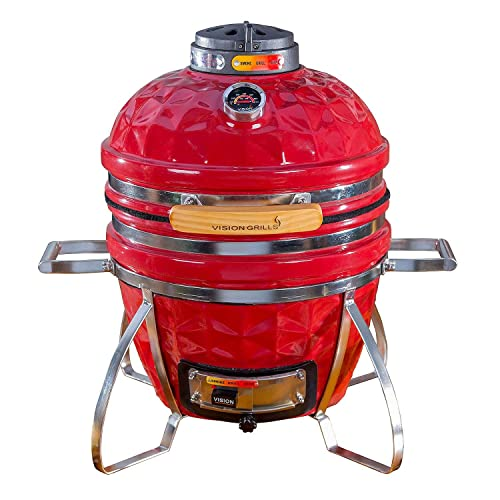 8. Vision Grills Diamond-Cut Cadet Kamado Grill (Crimson Red)