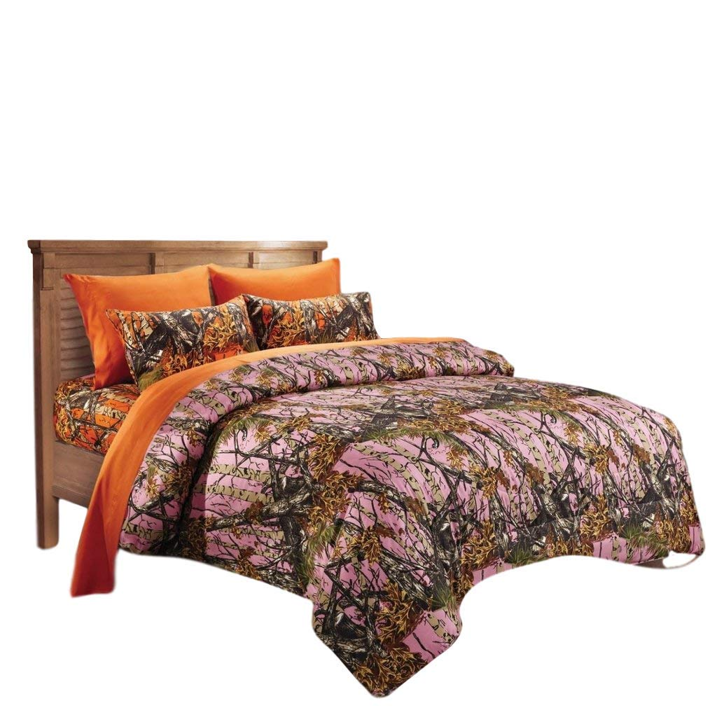 20 Lakes Woodland Hunter Camo Comforter, Sheet, Pillowcase Set (Queen, Pink & Orange)