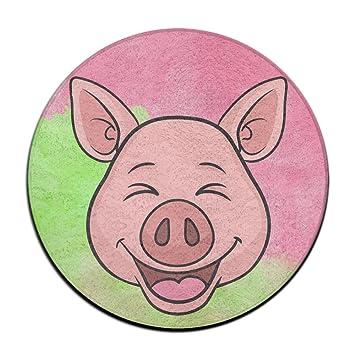 Un Cochon Rieur Emoji Dessin Animé Antidérapant Tapis