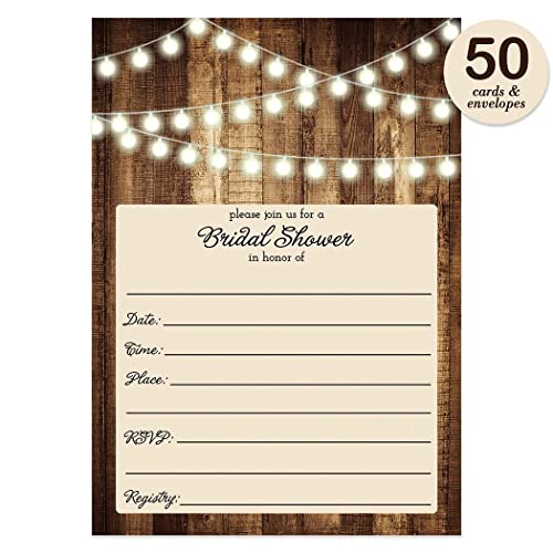 Amazon Rustic Bridal Shower Invitations with Envelopes Pack – Rustic Wedding Shower Invitations