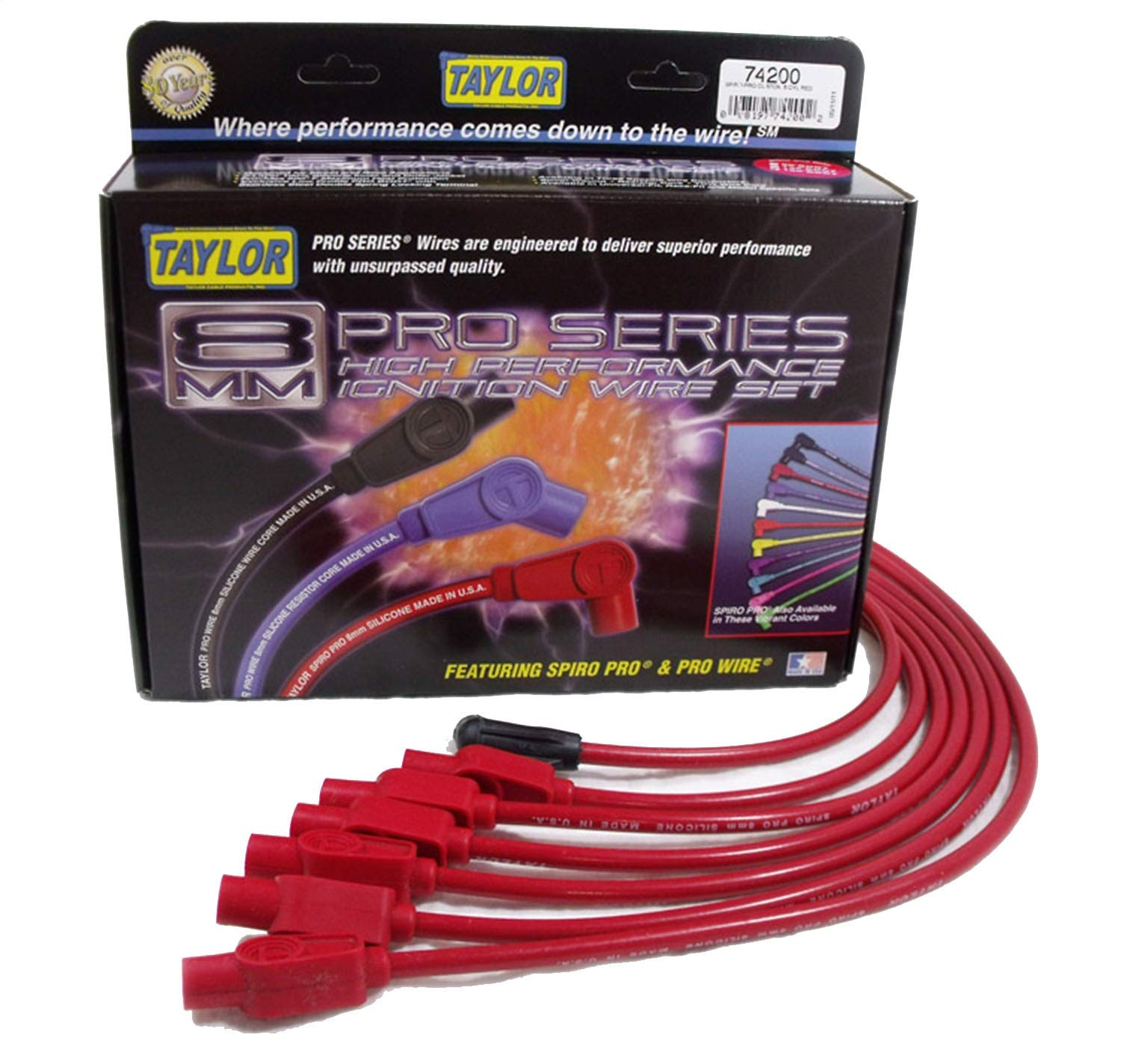 Taylor Cable 74200 Spiro-Pro Red Spark Plug Wire Set