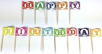 the letter happy birthday set 1 picker papierfähnchen in