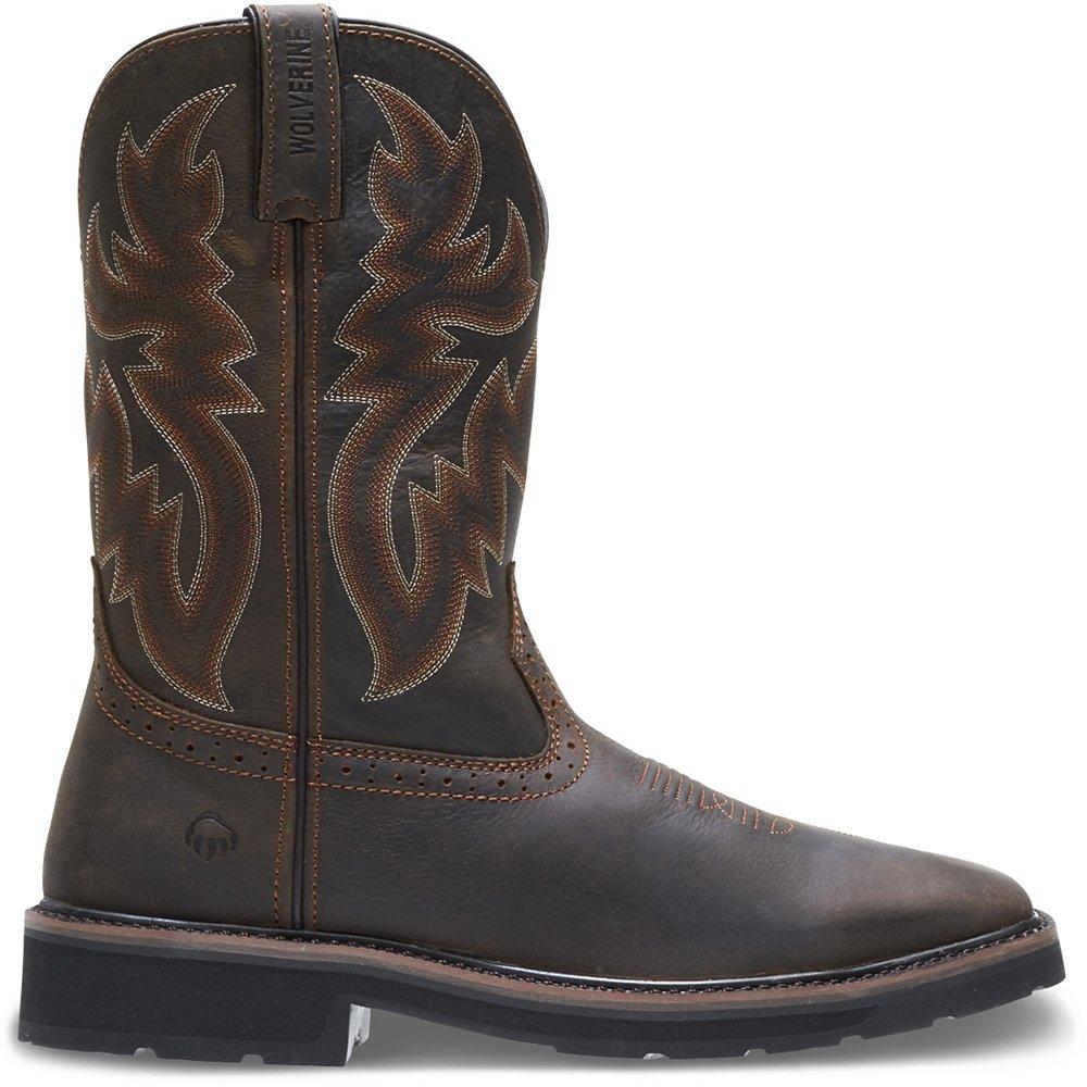 Wolverine Men's Rancher 10'' Square Soft Toe Work Boot, Dark Brown/Rust, 13 3E US