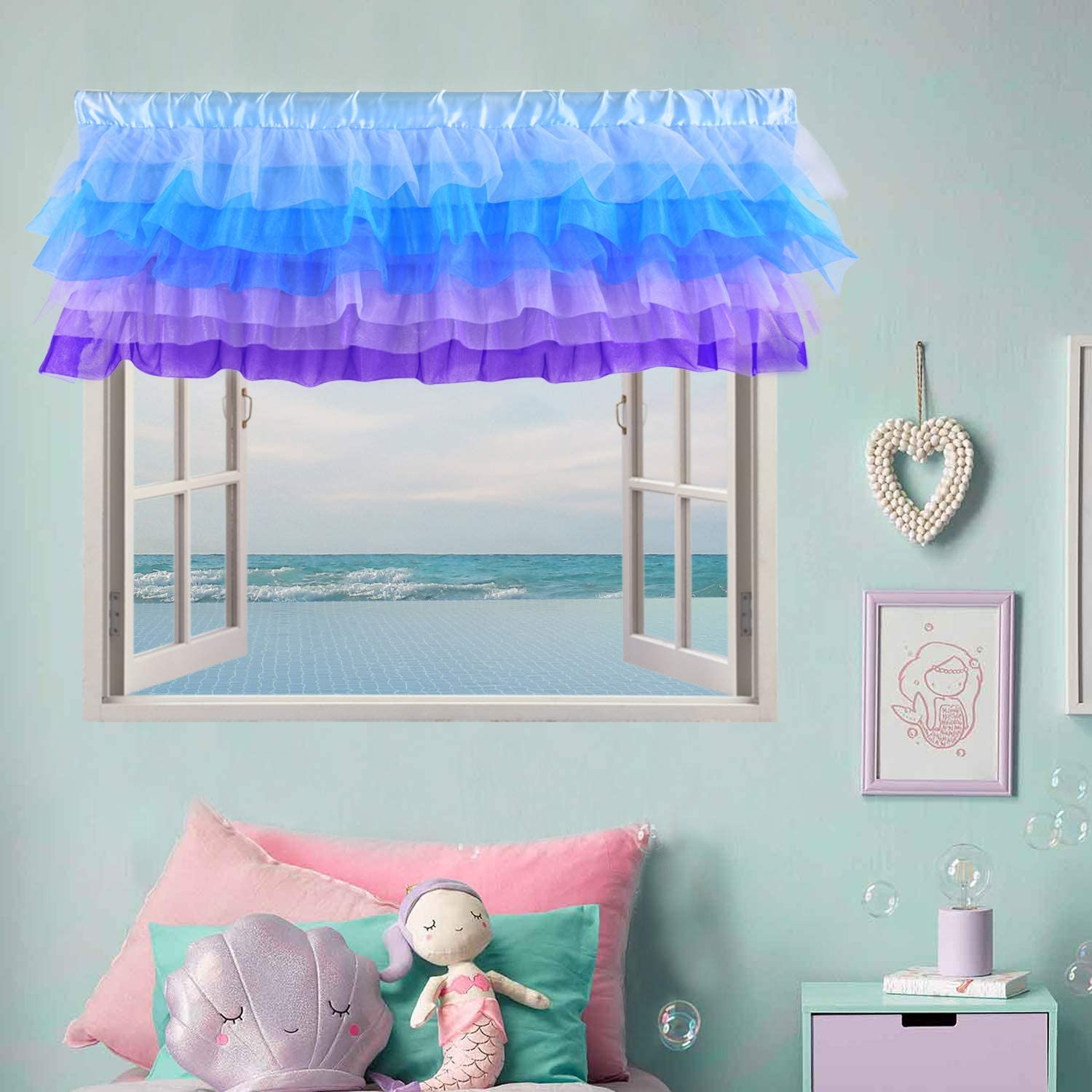 Amazon Com Mermaid Valance Curtains Frozen For Girls Bedroom Windows Baby Kids Nursery Room Purple Blue 52 16 Inch Kitchen Dining