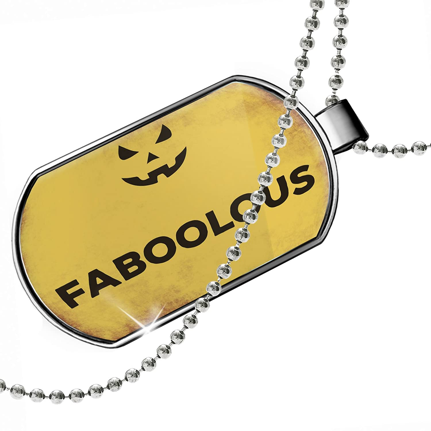 NEONBLOND Personalized Name Engraved Faboolous Halloween Jack-O-Lantern Dogtag Necklace