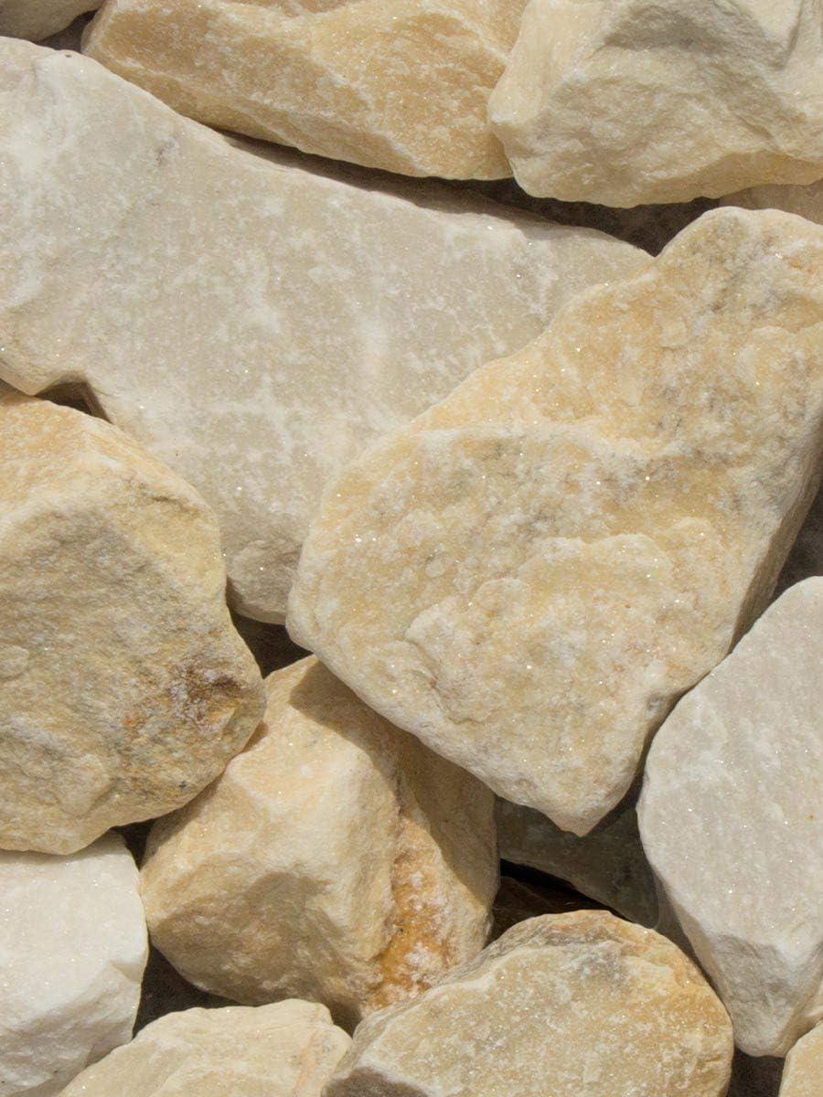 Rocalla Amarilla Mármol, piedra decorativa para el jardín en sacas de 500Kg. Disponible en formato 40-60mm: Amazon.es: Jardín