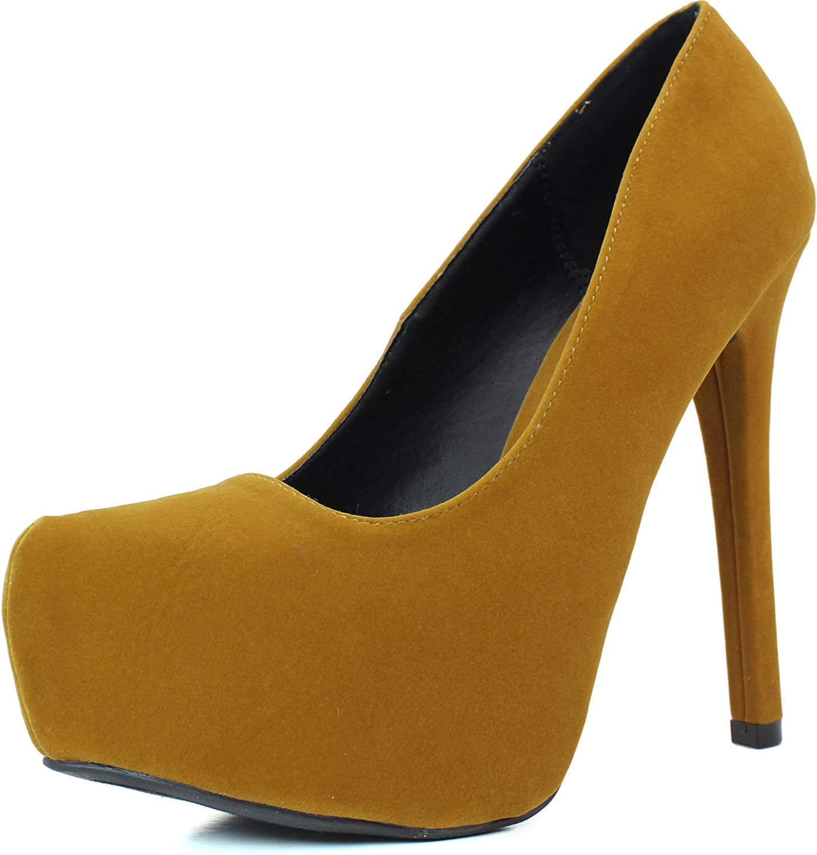Qupid Women's High Heel Almond Toe Platform Classic Stiletto Pump Shoes Marquise-06