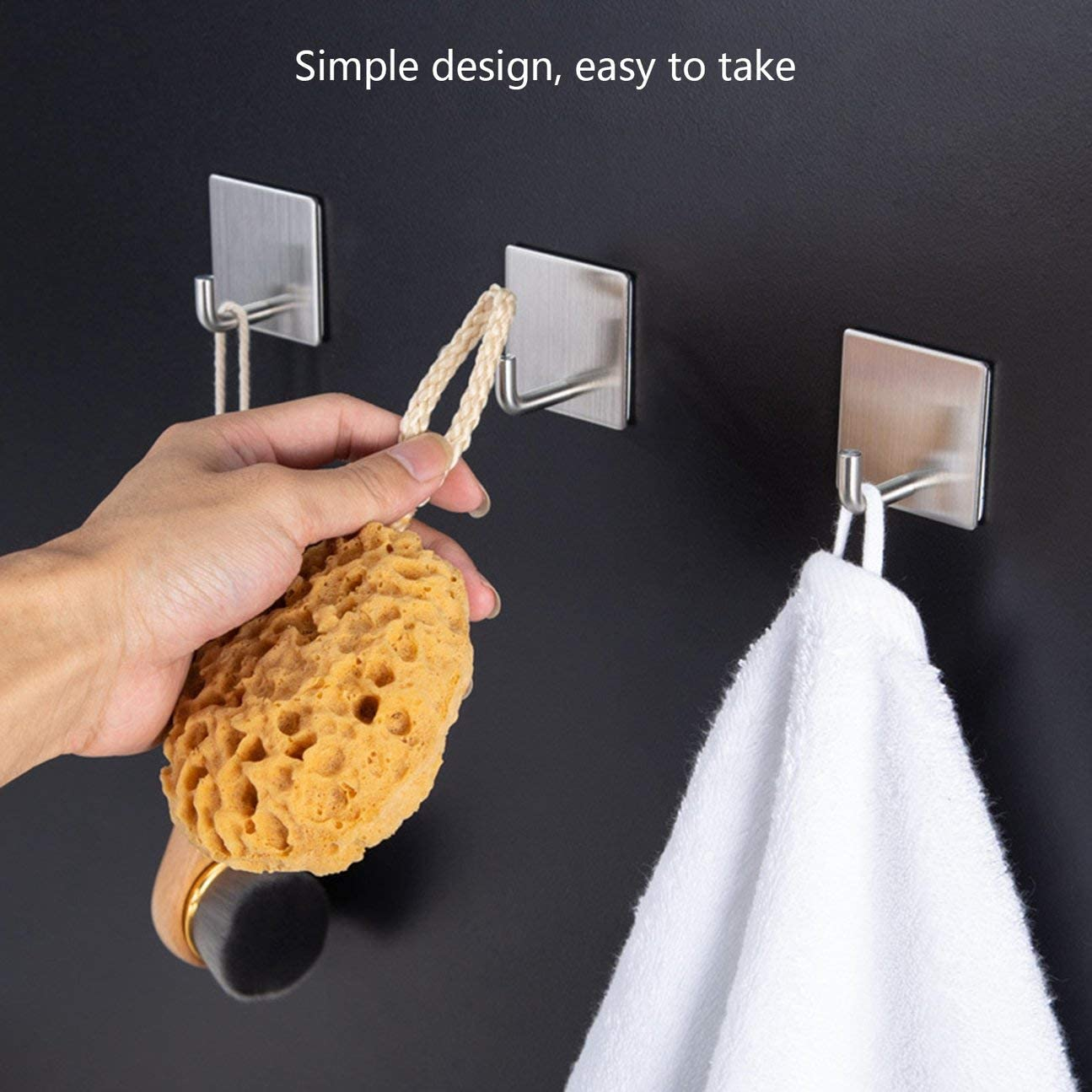 color:Sliver Wall Hooks Heavy Duty Wall Hangers Stainless Steel Waterproof Hooks for Robe Coat Towel MachinYester Adhesive Hooks
