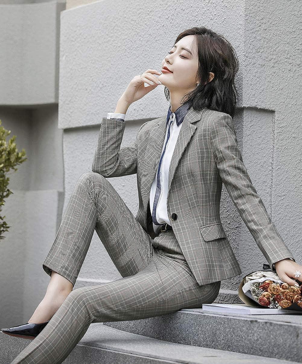 SUSIELADY Damen Blazer Basic Karierte Slim Fit Blazer Smart Business Party Sakko