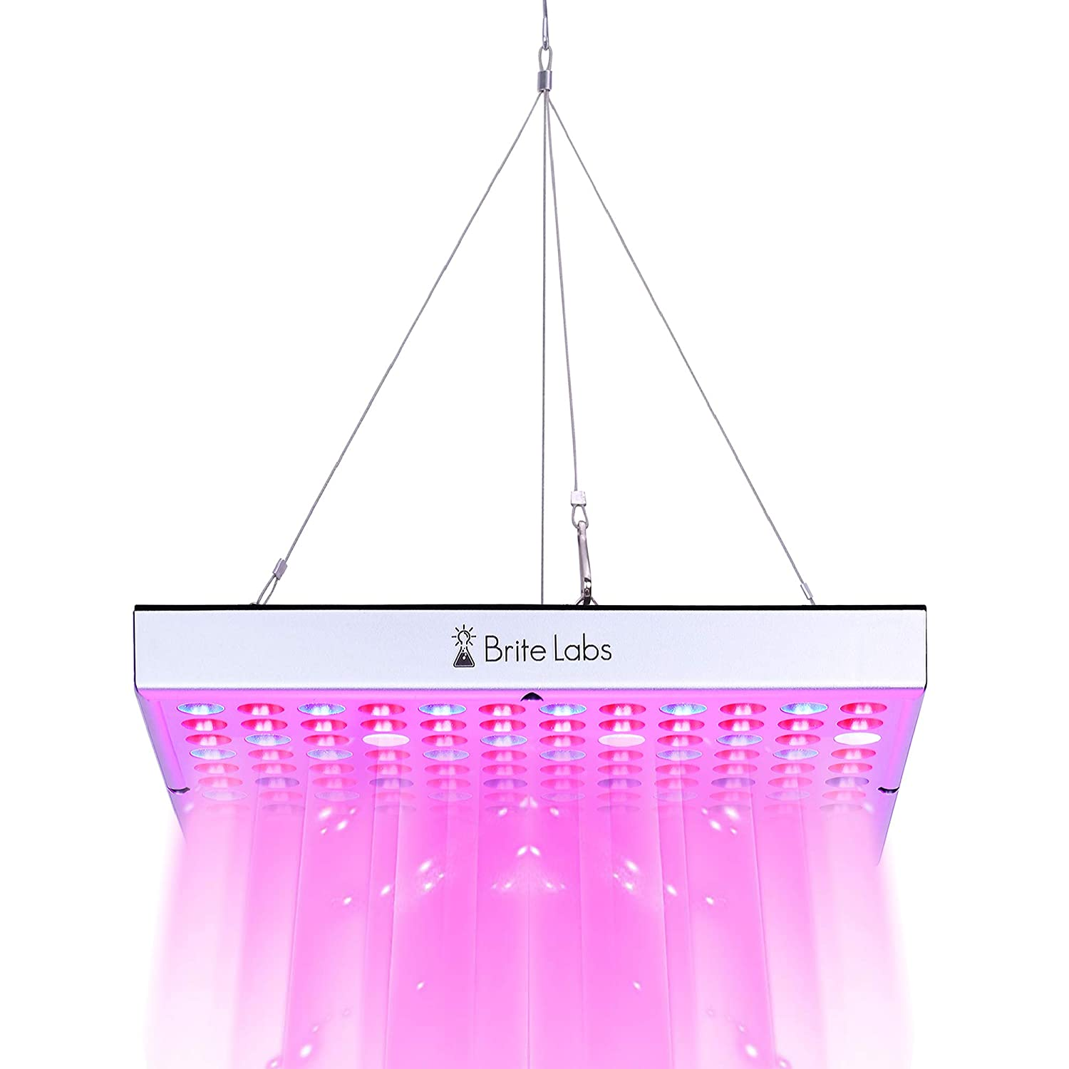 Brite Labs LED Grow Lights for Indoor Plants, 45W Full Spectrum Bulbs, Hanging Plant Grow Light Panel for Seedlings and Seed Starting, LED Growing Lamp Hanging Kit Fixtures and Accessories Included