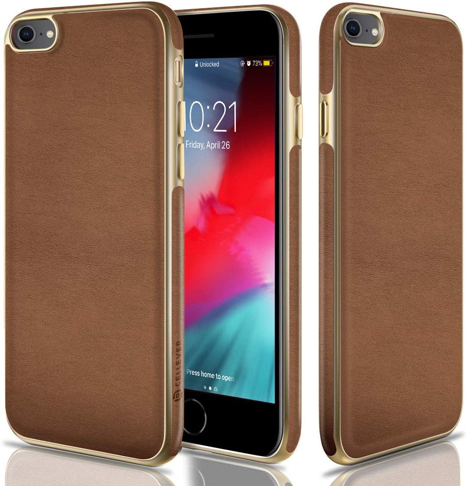 CellEver Compatible with iPhone SE 2020 Case/iPhone 7 Case/iPhone 8 Case, Premium Leather Guard Thin Slim Soft Flexible Scratch-Resistant Anti-Slip Luxury Vegan Leather Cover (Brown)