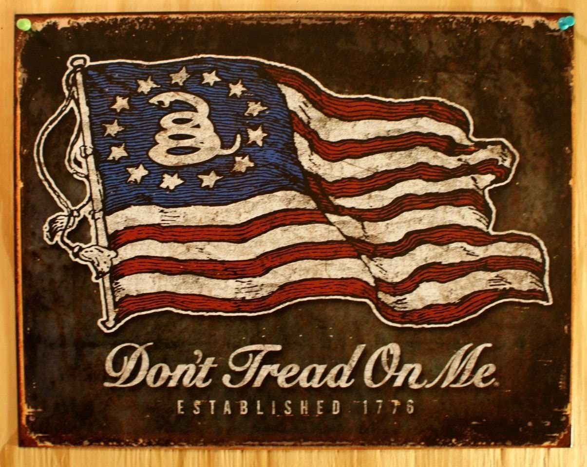 Gadsden Flag USA Don/'t Tread On Me Tin Metal Sign Proud to Be an American