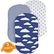 Bassinet Sheet Set | Cradle Fitted Sheets for Bassinet Mattress/Pads | Super Soft Jersey Knit Cotton | 3 Pack | 150 GSM | Above The Clouds  Collection by BaeBae Goods …