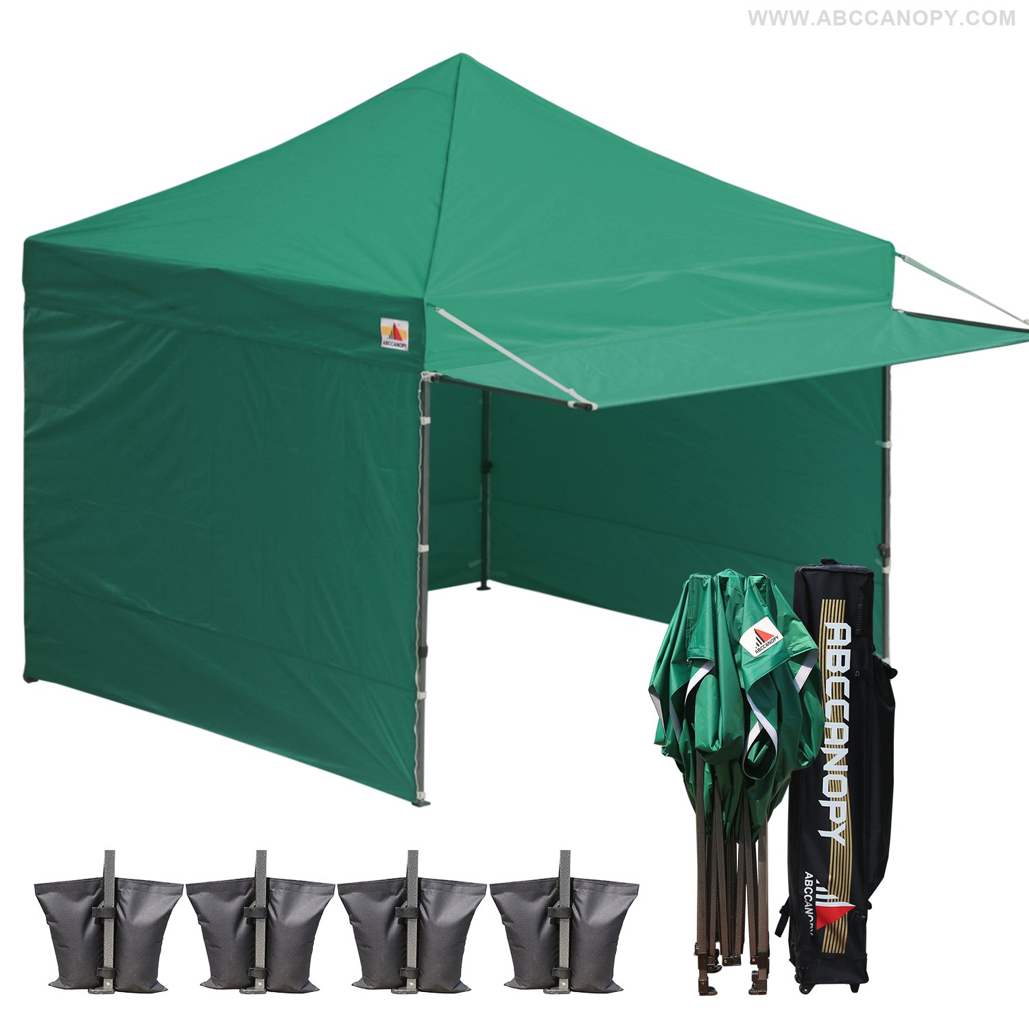 AbcCanopy 10 x 10 Forest Green Ez Pop up Canopy Ourdoor Party Tent Gazebo With 3 Removable Zipper Sidewalls and 1 Removable Zipper Doorwall BOUNS Canopy awning and Roller Bag