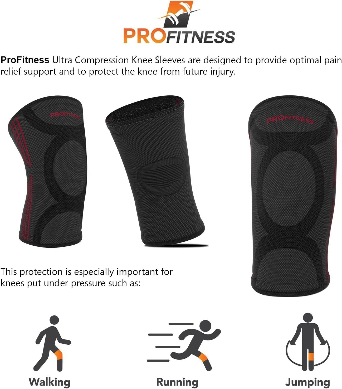 One Pair Surgery Recovery Knee Support for Joint Pain /& Arthritis Pain Relief ProFitness Knee Sleeves Effective Support for Running Arthritis Pain Pain Management