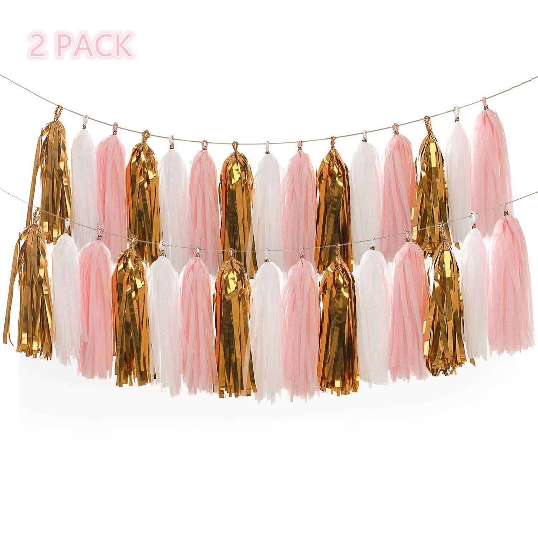 Derhom Tissue Paper Tassel Garland - 20pcs Tassels Per Package - 12 Inch Long Tassels (Gold/Pink(2Pack)) by Derhom
