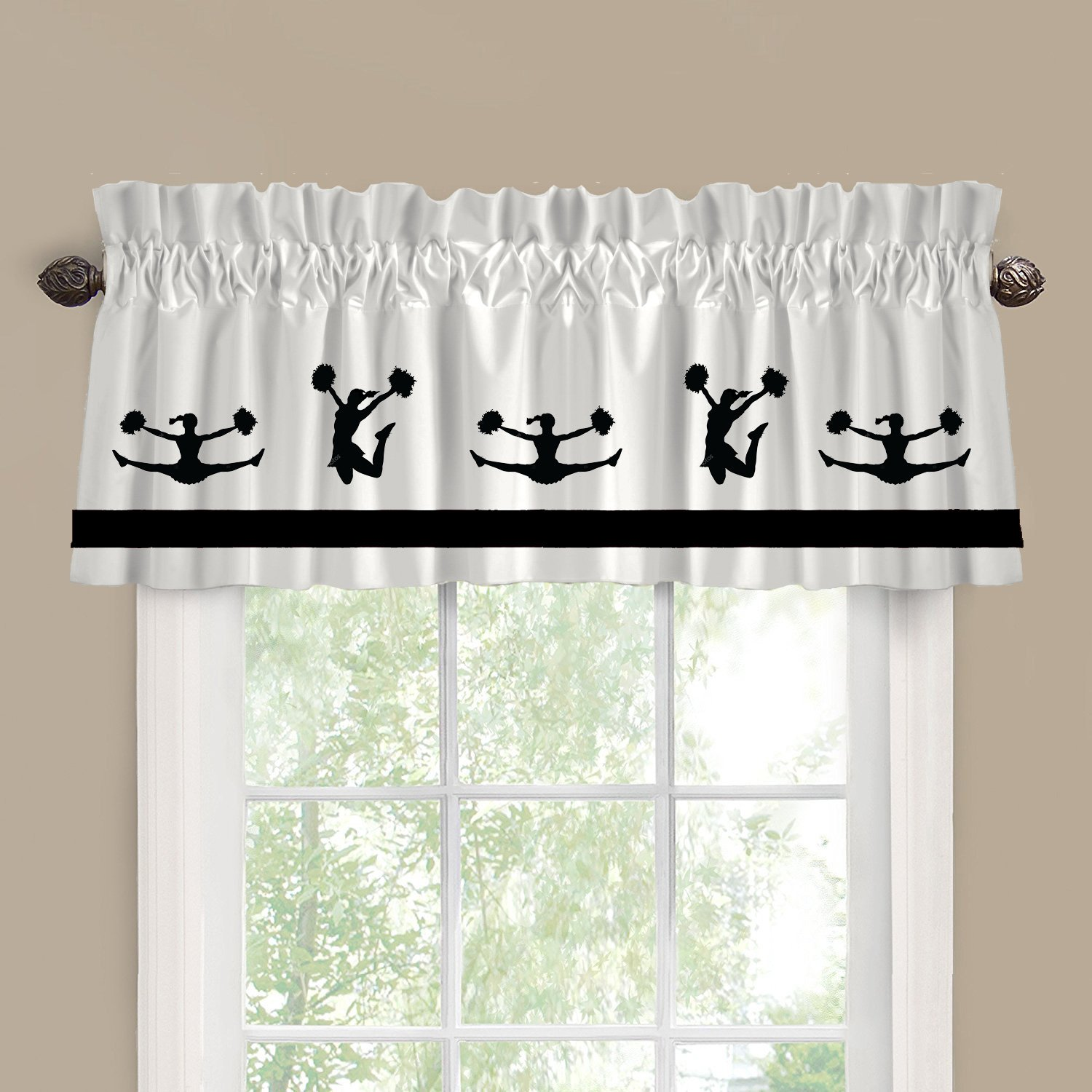Cheerleader Cheerleading Dance School Window Valance / Window Treatment - In Your Choice of Colors - Custom Made