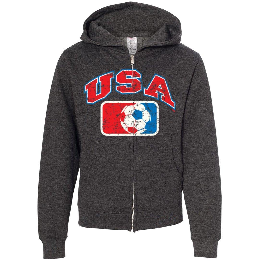 USA Vintage Soccer Team Youth Zip-Up Hoodie