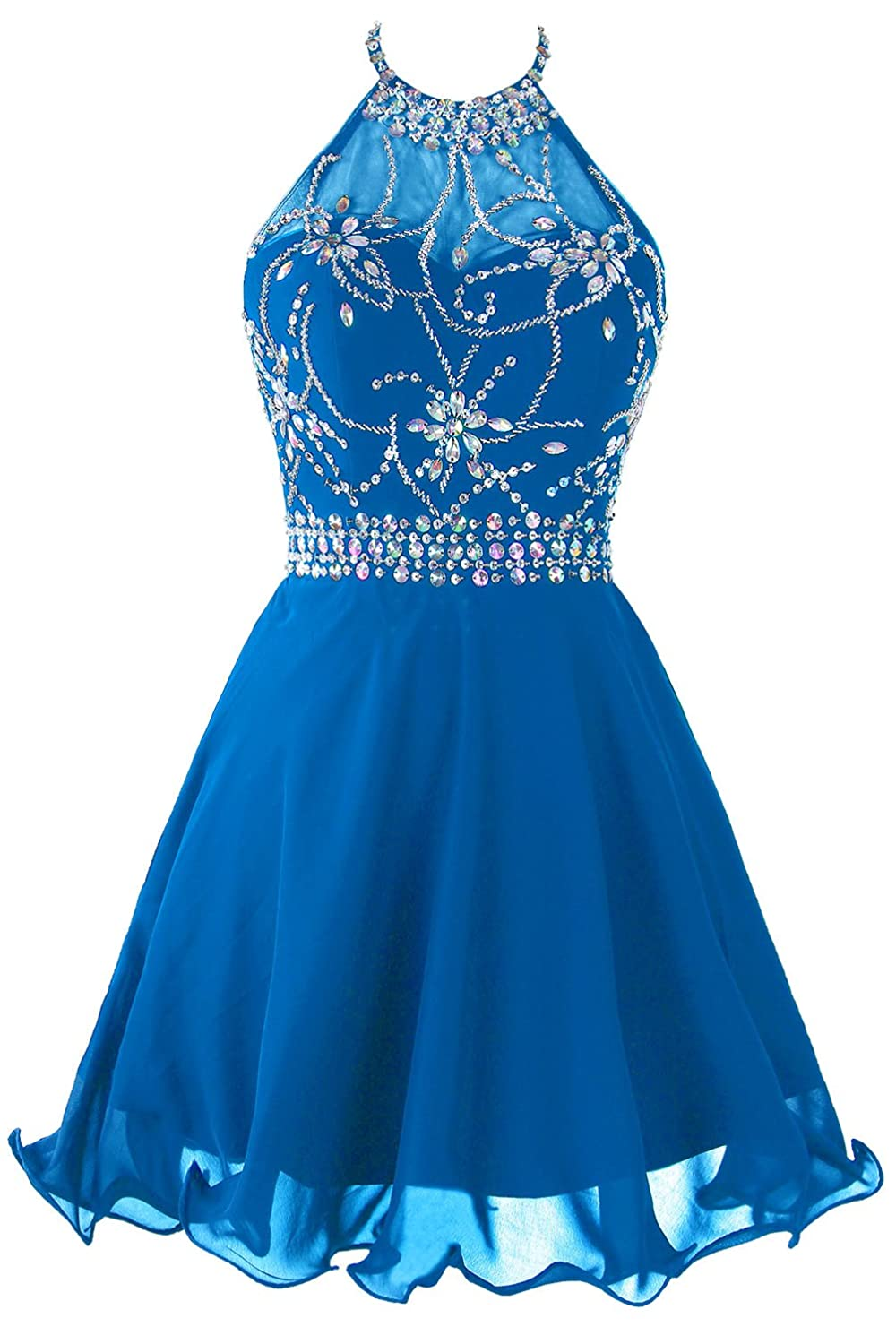 Topdress Women's Short Beaded Prom Dress Halter Homecoming Dress Backless AGRN036