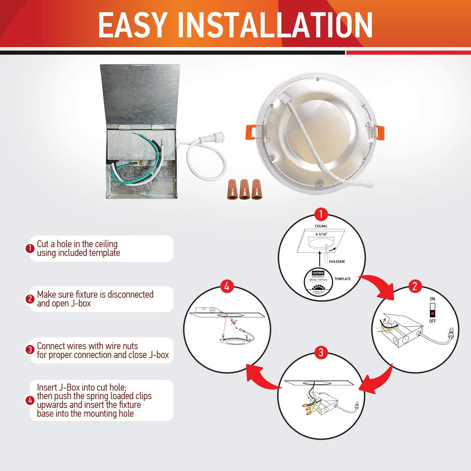 Dimmable Pack of 24 Canless LED Recessed Light with Junction Box 12W 80W Eqv ETL /& Energy Star Listed OSTWIN LED Recessed Lighting 6 Inch 2700k 840 Lm Ultra-Thin IC Rated