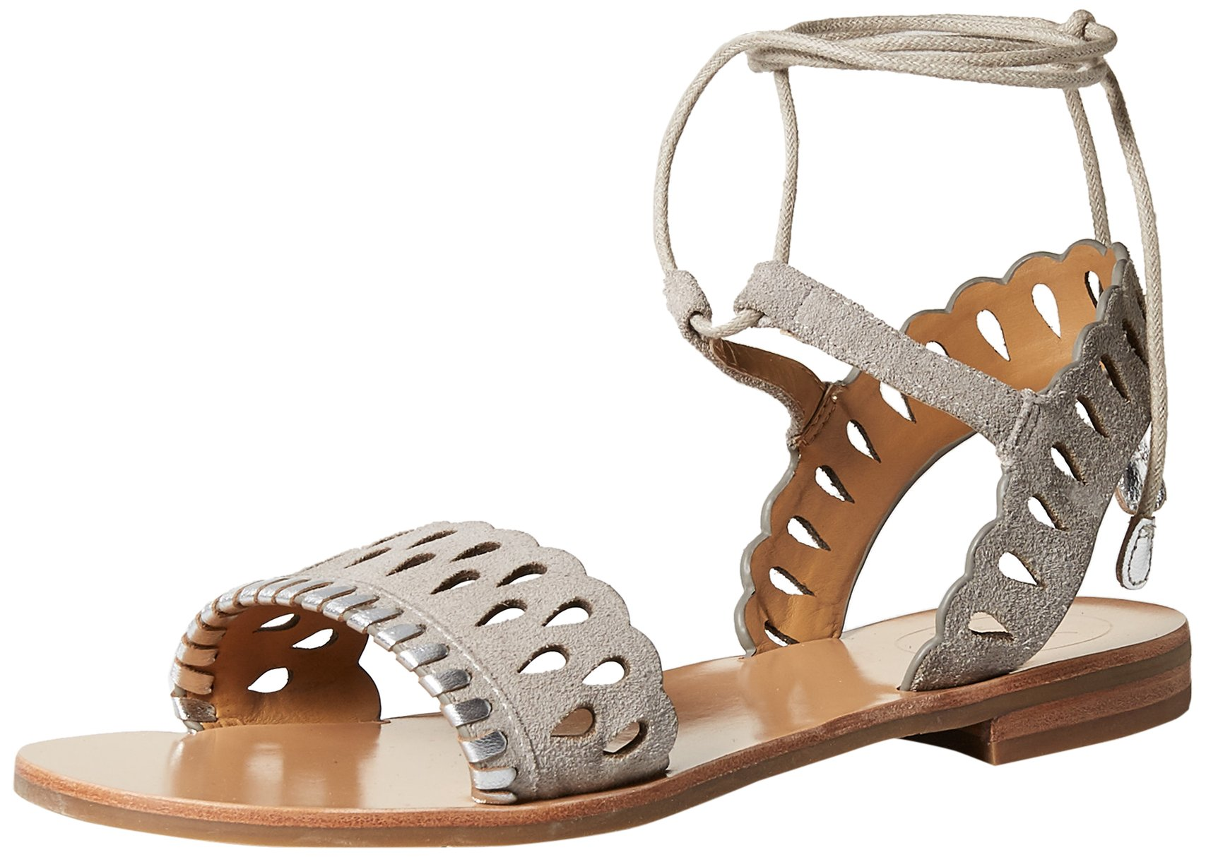 Jack Rogers Women's Ruby Suede Flat Sandal, Dove Grey/Silver, 6.5 Medium US