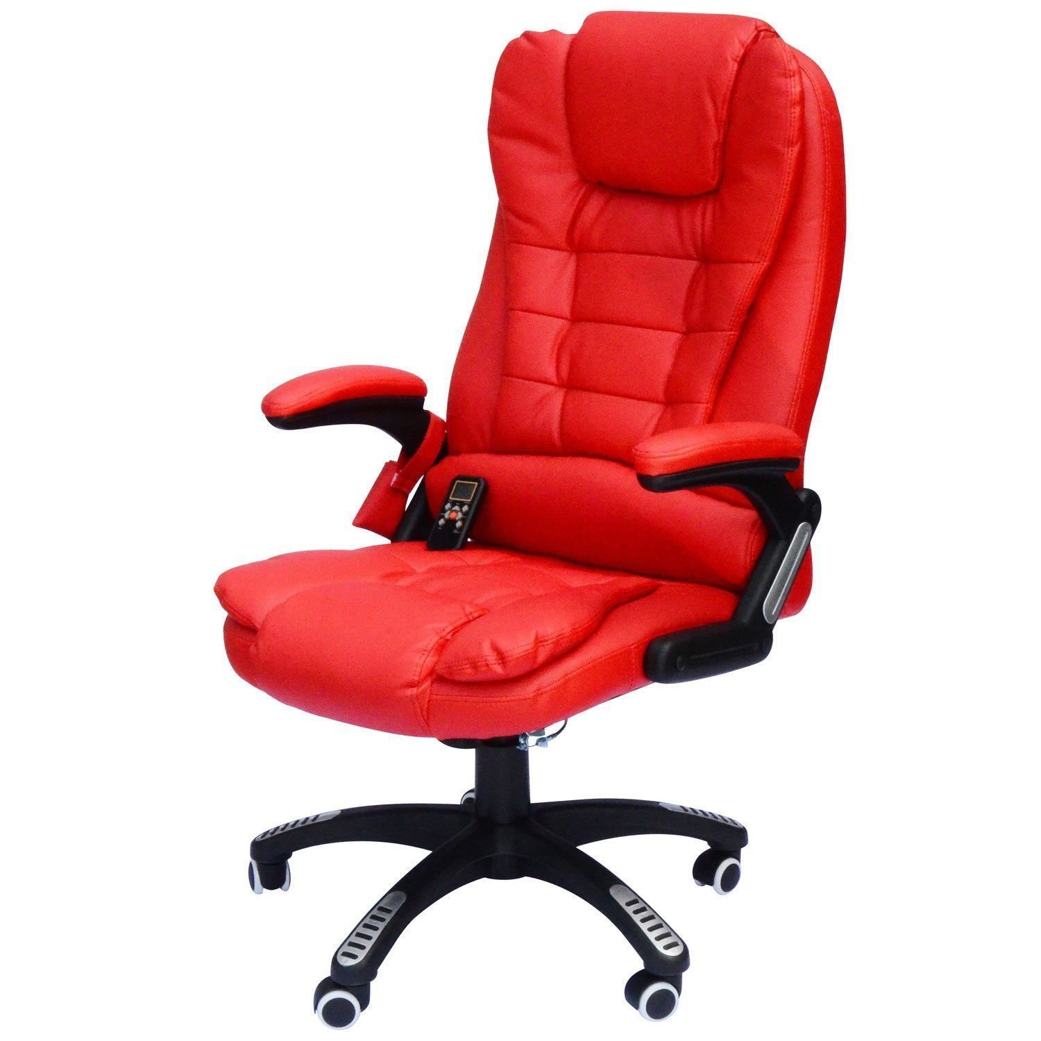 Red HomCom A2-0051 Heated Massage Executive Office Chair High Back Swivel Leather Adjustable Vibrating Furniture, Black