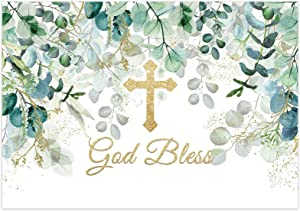 Funnytree 7x5ft God Bless Backdrop Baptism Party First Holy Communion Christening Banner Decor Forest Leaves Baby Shower Photography Background Favors Gifts Supplies Photo Booth Props