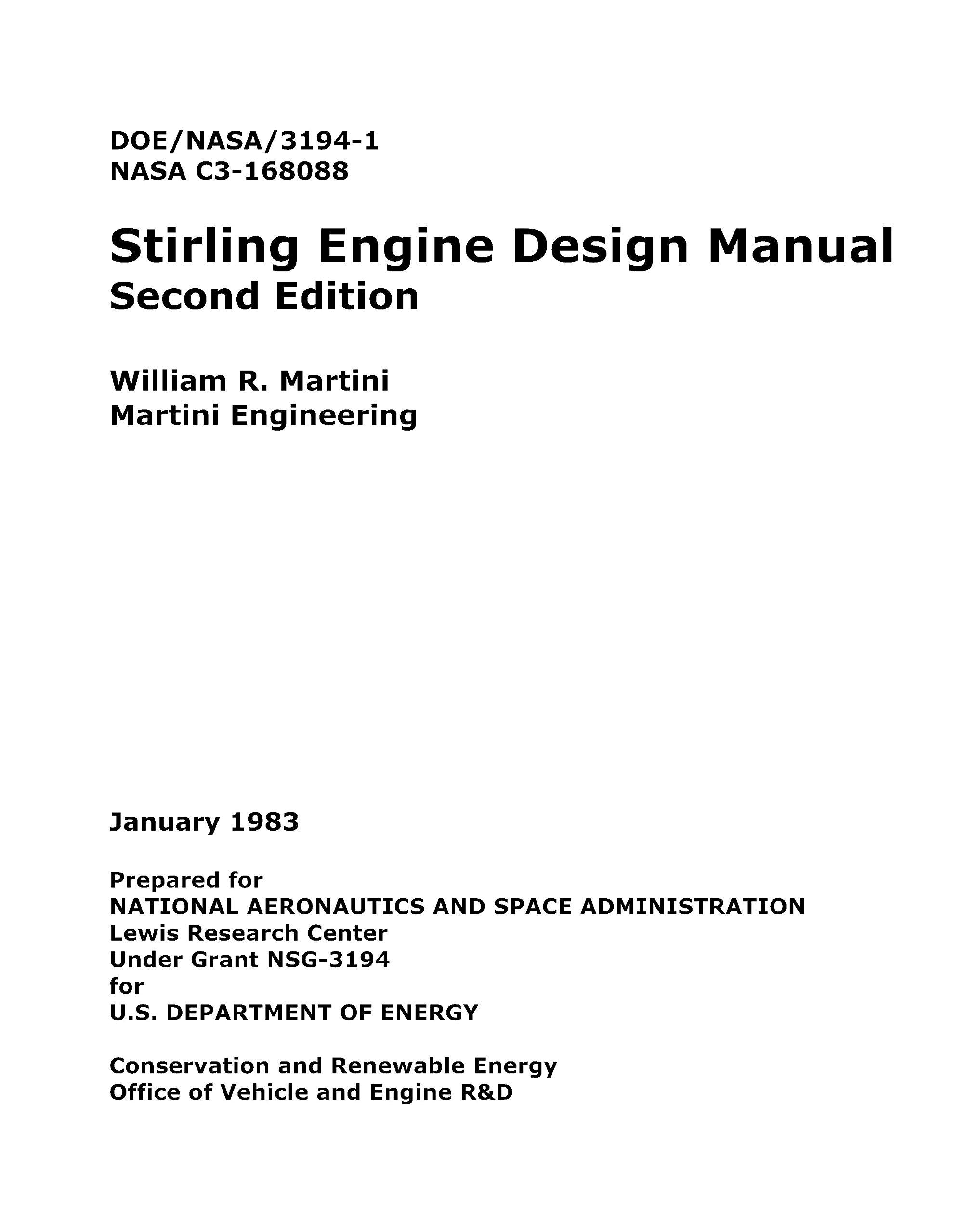 Stirling Engine Design Manual Second Edition Doe Nasa 3194 1 C3 Diagram 168088 Enlarge 1983 William R Martini Books