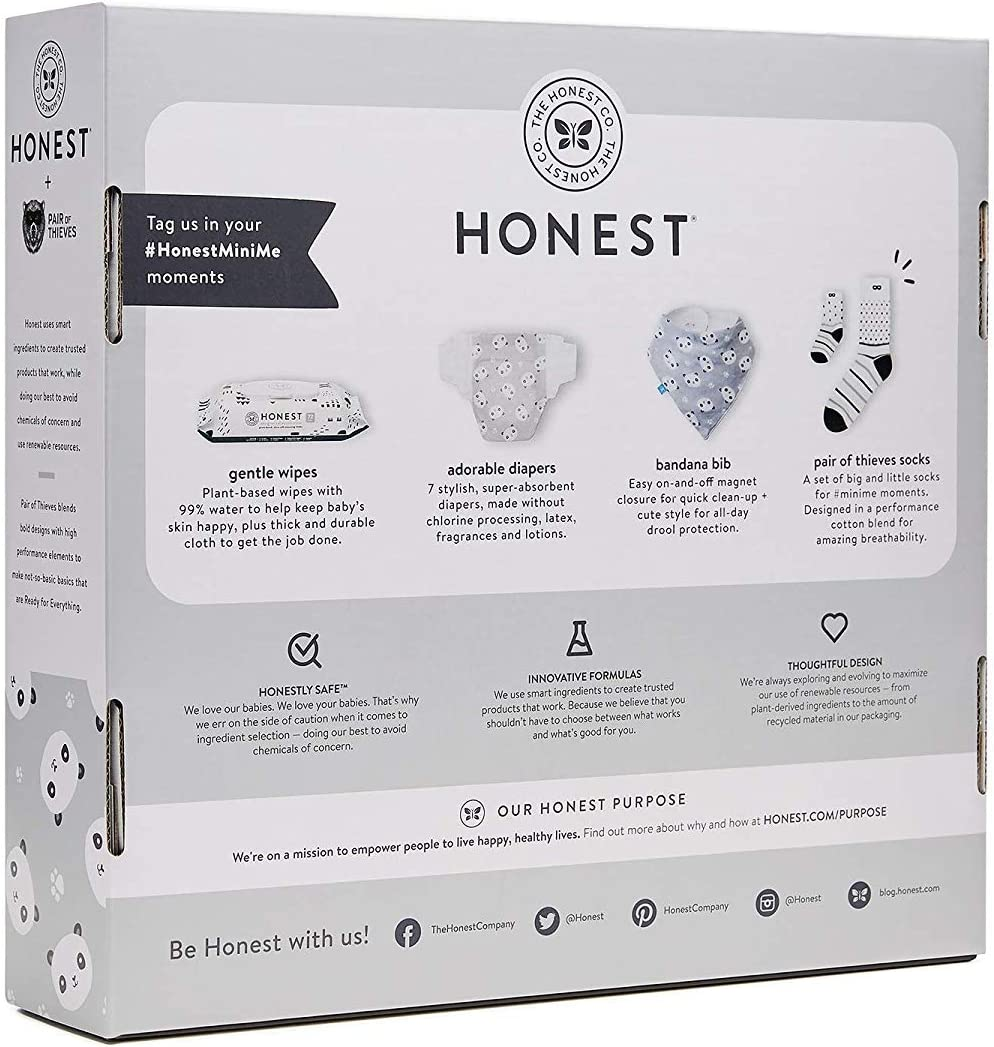 The Honest Company Twinning Moments Baby Gift Set, Pandas | Includes Size 1 Newborn Diapers, Designer Honest Wipes, Magnetic Bandana Bib & Big + Little Pair of Thieves Socks