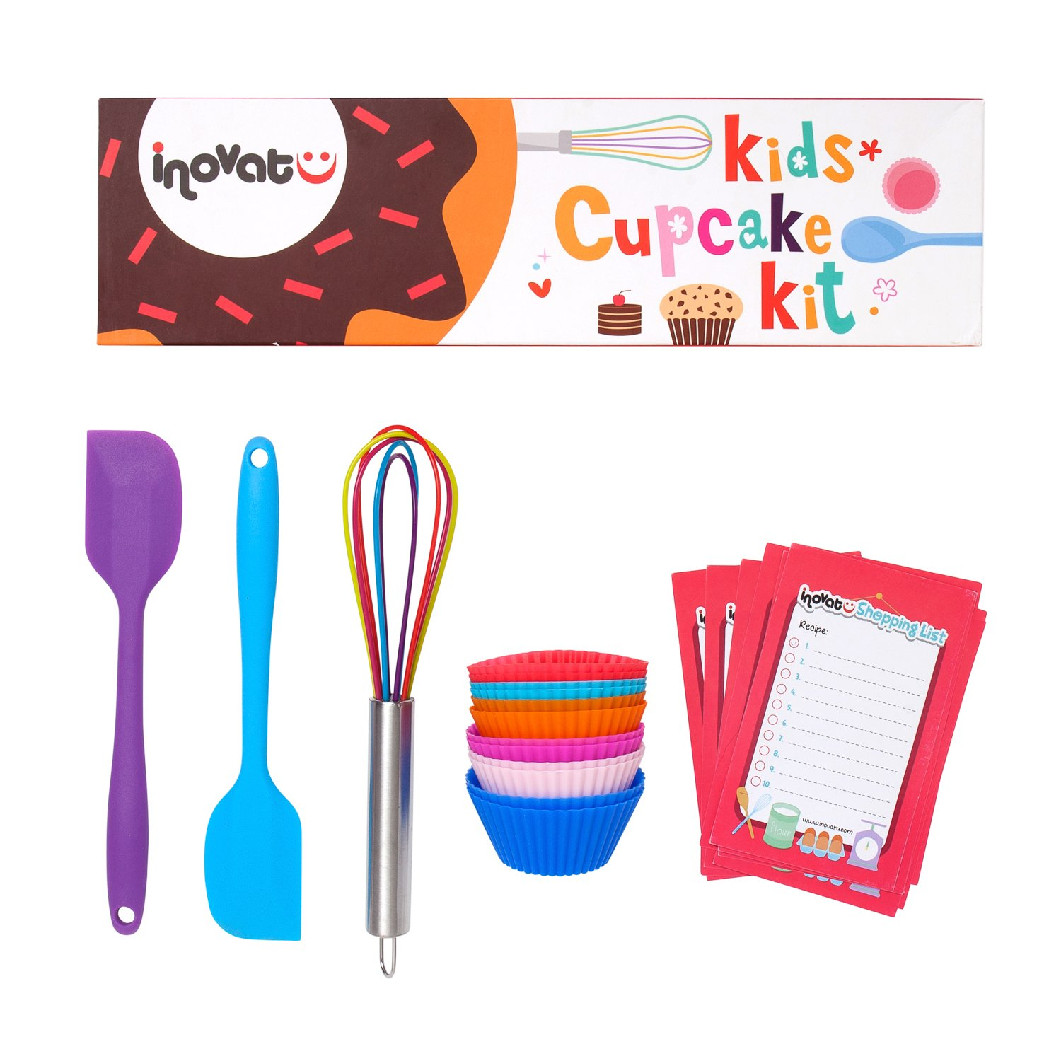 Kids Cupcake Kit / 15 Pieces / Colorful Gift Box / Perfect Kids Baking Set / Quality Whisk, Spatulas and Cupcake Cups / Bonus Shopping Lists and Coupon Inovatu 0265