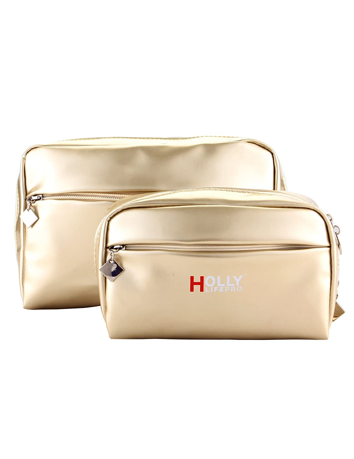 Holly LifePro 2pcs of set Elegant PU Leather Handy Cosmetic Pouch Clutch Makeup Bag Travel Accessory Organizer toiletry bag 119-2