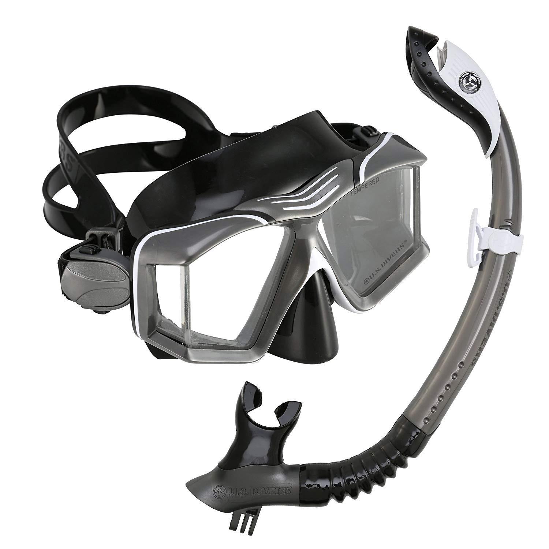 U.S. Divers 281022 Side View Mask Paradise II Go Pro Snorkel Combo, Gunmetal by U.S. Divers