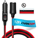 [UL Wire]Chanzon 12V Cigarette Lighter Extension Cord 16AWG 12Ft Heavy Duty Pure Copper Cable Fused Auto DC Power Plug 12 24 Volt for Car Tire Inflator Cleaner Male Female Socket Adapter