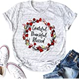 KIDDAD Women's Grateful Thankful Blessed Letter Print T-Shirt Floral Print Graphic Tee Shirt