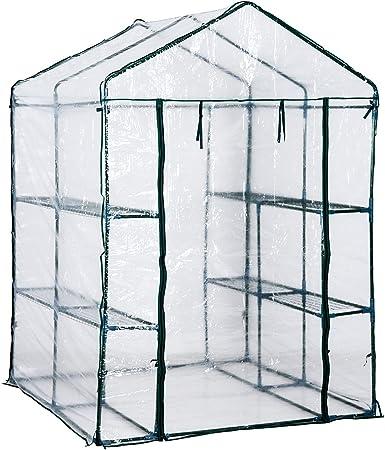 Homcom Serre De Jardin Balcon Terrasse 4 Etageres 143l X 143l X 195h Cm Acier Pvc Impermeable Anti Uv Transparent Vert Amazon Fr Jardin