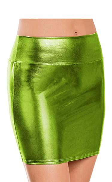 a51d135f80743b Women Wet Look Micro Mini Skirt Metallic Sexy Bodycon Stretch Night  Clubwear Party Costume Ladies Shiny Bandage Lingerie Short Pencil Dress  Apple Green: ...