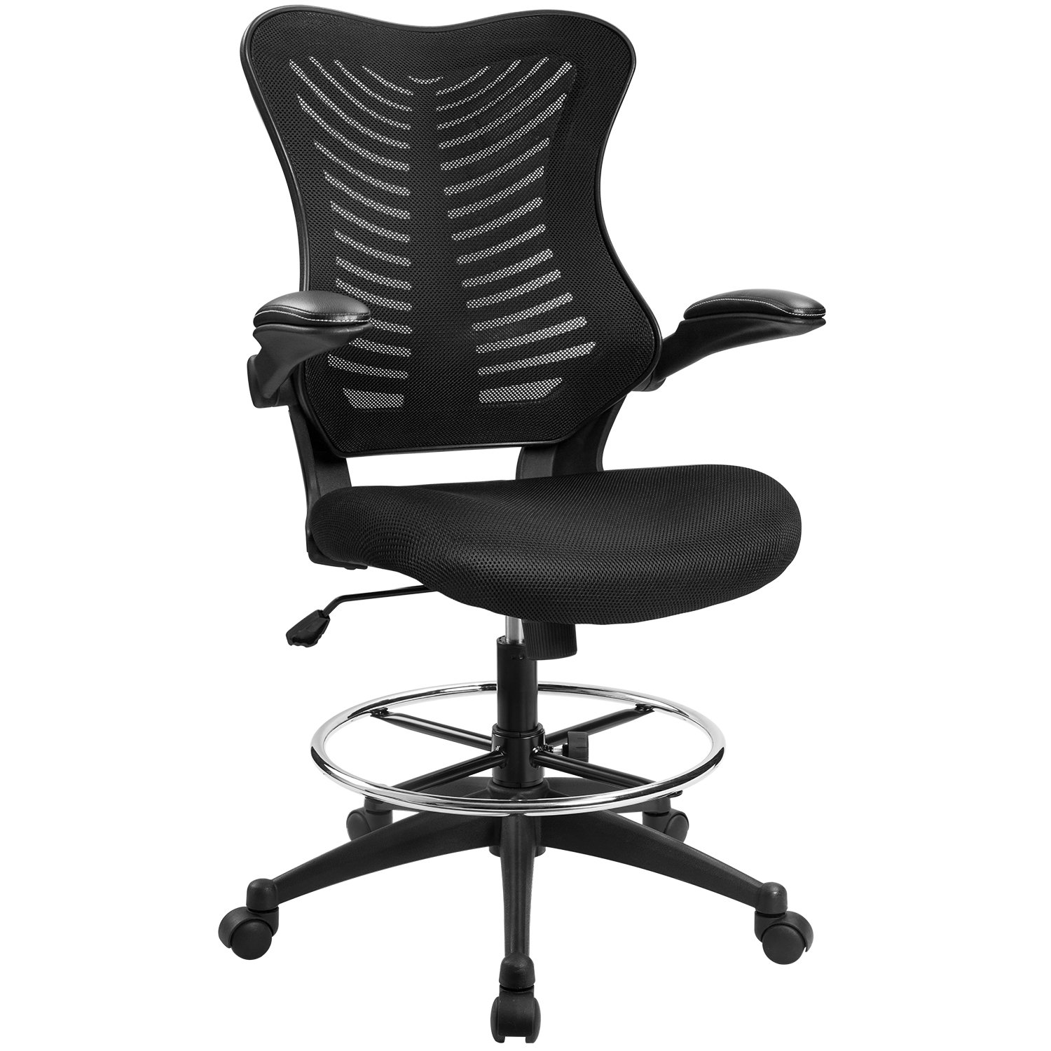 Furmax Drafting Office Chair Height Adjustable Swivel Mesh Reception Chair With Flip-Up Arms,Tall Chair For Standing Desks (Black)