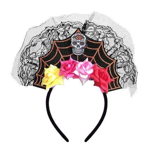 Merroyal - Diadema de encaje con diseño de calavera de araña para ...