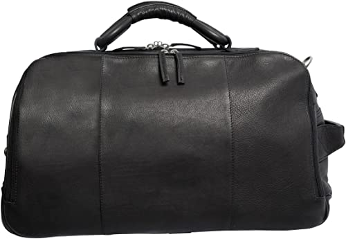 Canyon Outback Leather Goods Inc. Wildcat Canyon 20-inch Rolling Leather Duffel Bag – Full Grain Washed Cowhide Leather – Smooth Rolling Wheels and Durable Handle – Legal Carry On Size