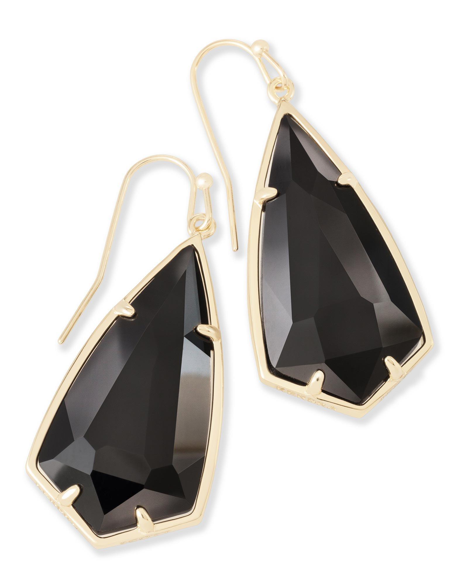 Kendra Scott Carla Gold Drop Black Earrings