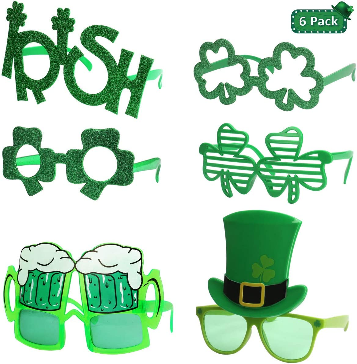 Ocean Line St Patrick S Day Glasses 6 Pack Irish Shamrock Leaves Costume Sunglasses Green Clover Evewear For Kids And Adults Toys Games Amazon Com