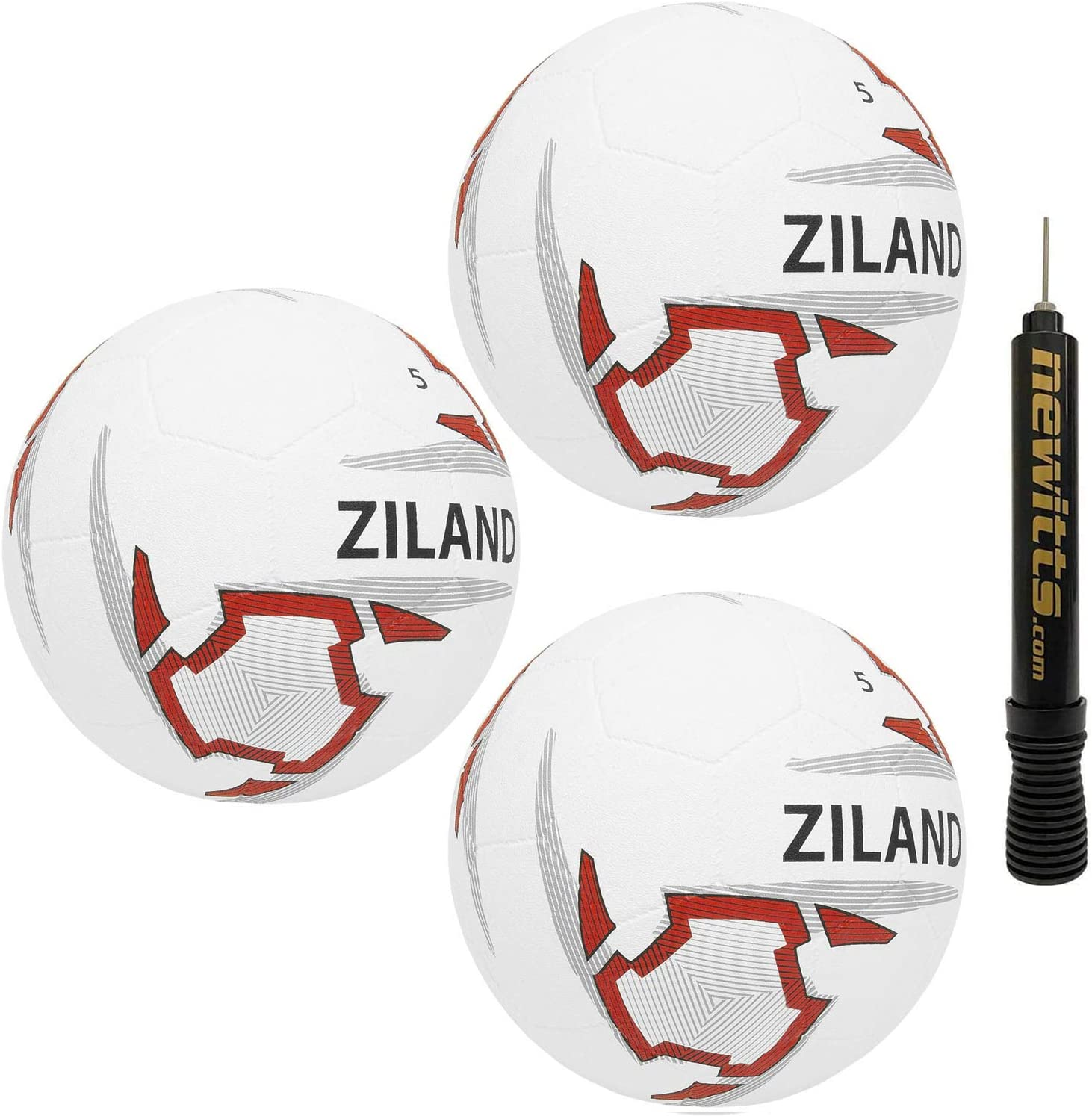 Pack of 3 Ziland Moulded Footballs /• Includes Ball Pump /• 32 panel dimple moulded rubber ball with exceptional durability on all playing surfaces SELECT YOUR SIZE