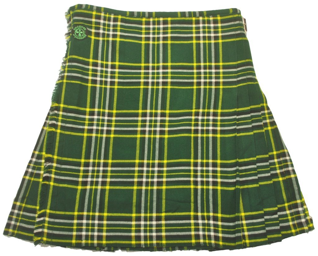 American Highlander Men's Irish National Tartan Kilt 42 Waist Green/Gold/White/Black