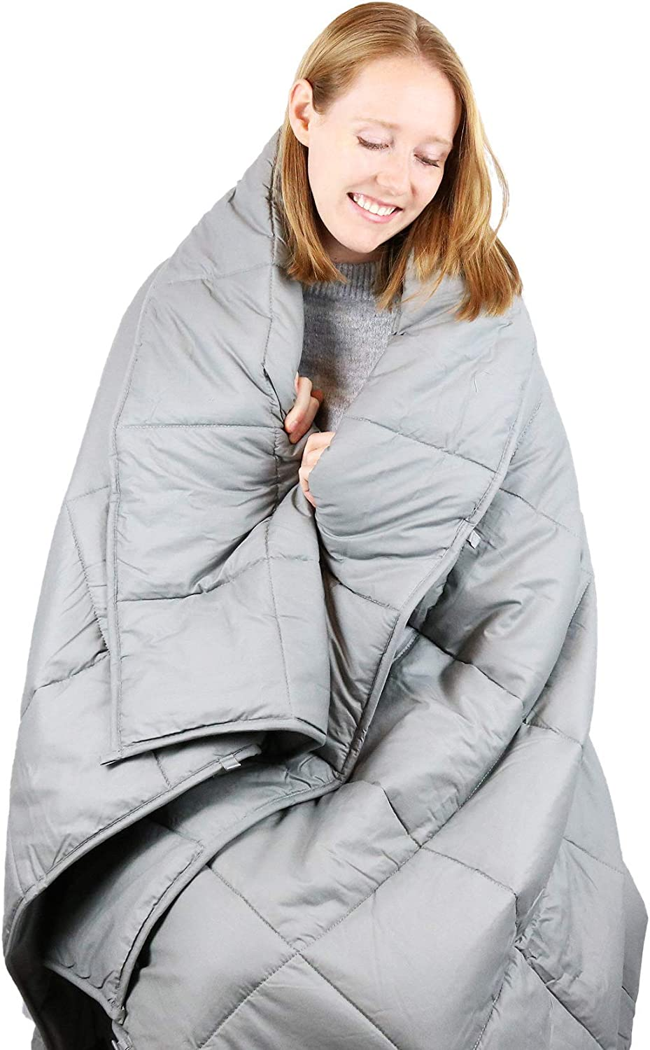 Cooshi Adult 15 lb Weighted Blanket Queen Size | Cotton 60x80 | Grey Heavy Blanket and Comforter | Glass Beads | For Adults less than 160 lbs
